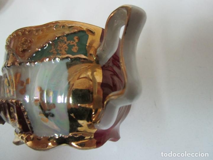 Antigüedades: Bonito Juego de Café o Te - Porcelana Limoges, Francia - 12 Tazas - Fino Dorado - Foto 10 - 183287371