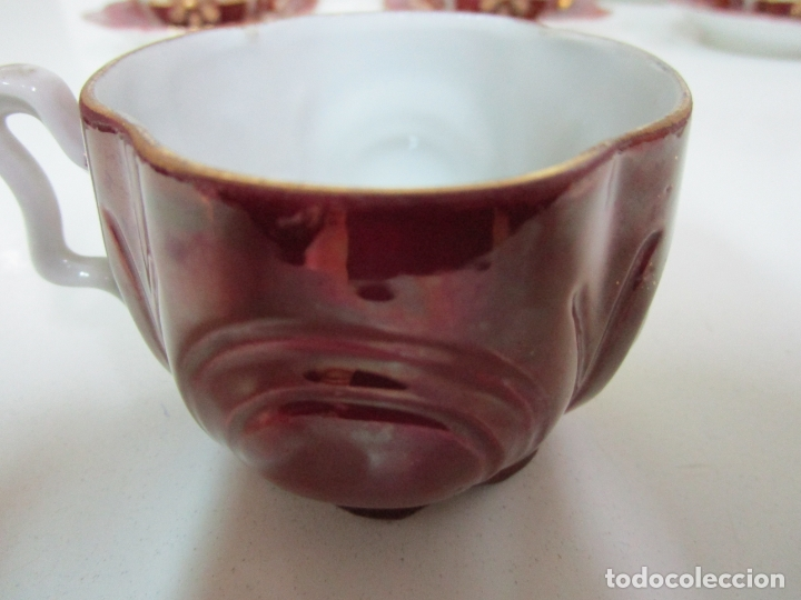 Antigüedades: Bonito Juego de Café o Te - Porcelana Limoges, Francia - 12 Tazas - Fino Dorado - Foto 12 - 183287371
