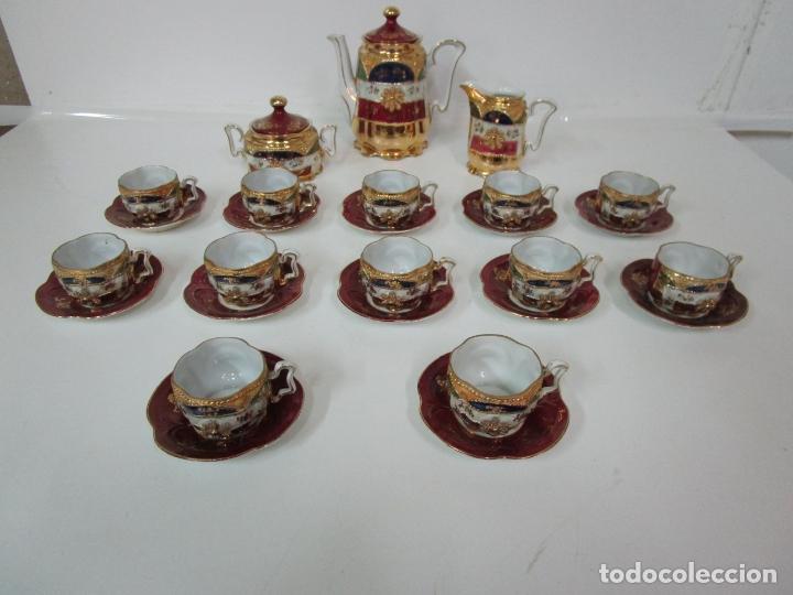 Antigüedades: Bonito Juego de Café o Te - Porcelana Limoges, Francia - 12 Tazas - Fino Dorado - Foto 15 - 183287371