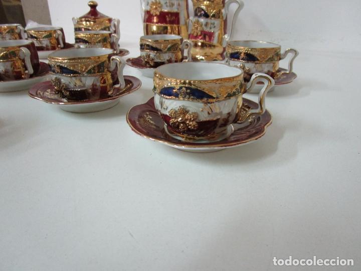 Antigüedades: Bonito Juego de Café o Te - Porcelana Limoges, Francia - 12 Tazas - Fino Dorado - Foto 16 - 183287371