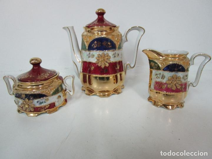 Antigüedades: Bonito Juego de Café o Te - Porcelana Limoges, Francia - 12 Tazas - Fino Dorado - Foto 17 - 183287371