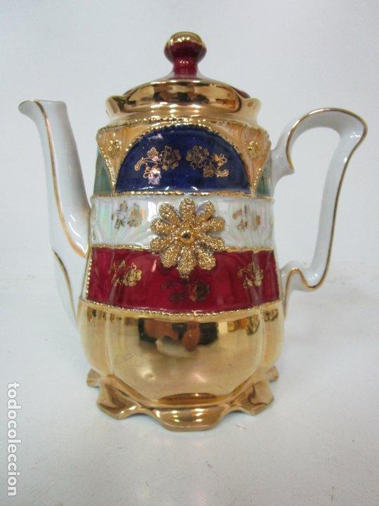 Antigüedades: Bonito Juego de Café o Te - Porcelana Limoges, Francia - 12 Tazas - Fino Dorado - Foto 28 - 183287371