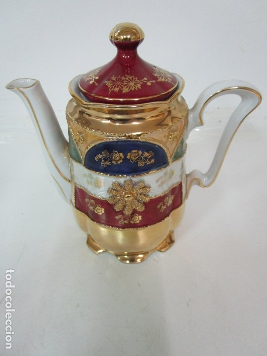 Antigüedades: Bonito Juego de Café o Te - Porcelana Limoges, Francia - 12 Tazas - Fino Dorado - Foto 29 - 183287371