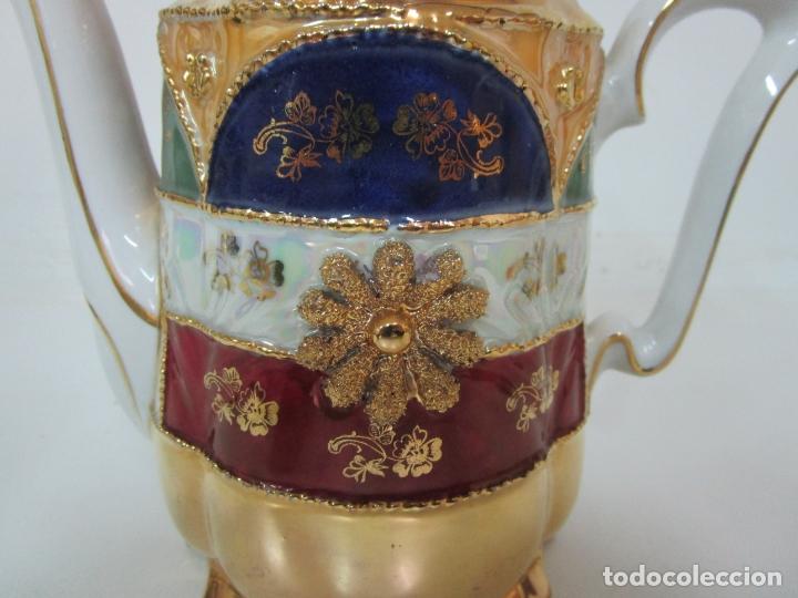 Antigüedades: Bonito Juego de Café o Te - Porcelana Limoges, Francia - 12 Tazas - Fino Dorado - Foto 30 - 183287371