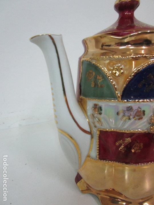 Antigüedades: Bonito Juego de Café o Te - Porcelana Limoges, Francia - 12 Tazas - Fino Dorado - Foto 33 - 183287371
