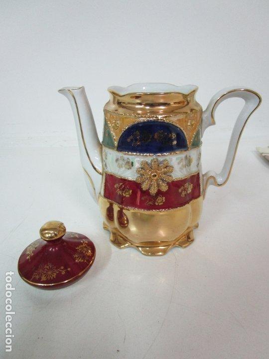 Antigüedades: Bonito Juego de Café o Te - Porcelana Limoges, Francia - 12 Tazas - Fino Dorado - Foto 38 - 183287371