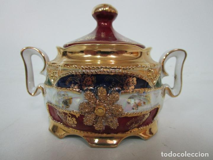 Antigüedades: Bonito Juego de Café o Te - Porcelana Limoges, Francia - 12 Tazas - Fino Dorado - Foto 40 - 183287371