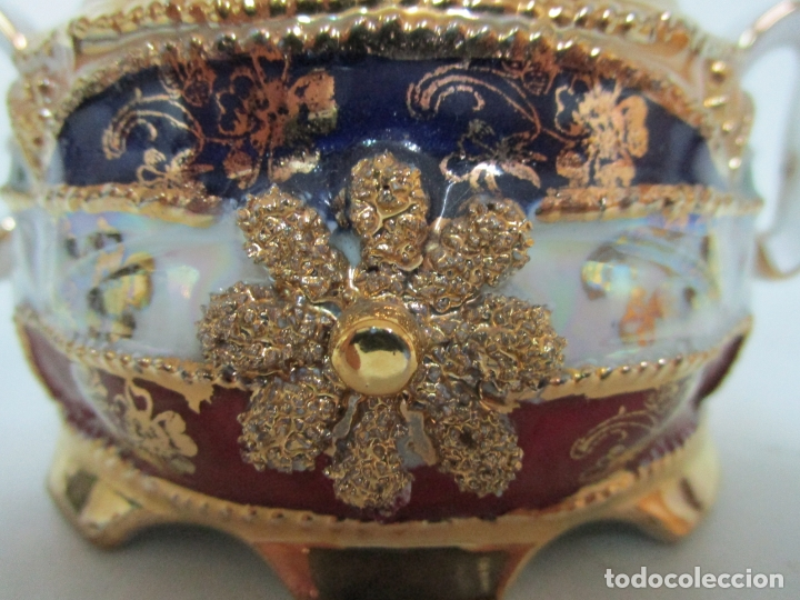 Antigüedades: Bonito Juego de Café o Te - Porcelana Limoges, Francia - 12 Tazas - Fino Dorado - Foto 41 - 183287371
