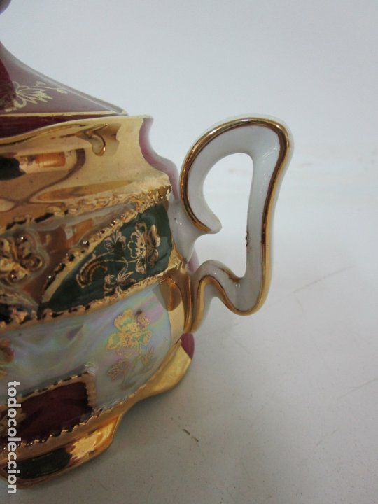 Antigüedades: Bonito Juego de Café o Te - Porcelana Limoges, Francia - 12 Tazas - Fino Dorado - Foto 44 - 183287371