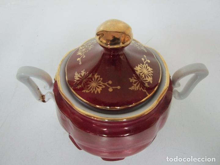 Antigüedades: Bonito Juego de Café o Te - Porcelana Limoges, Francia - 12 Tazas - Fino Dorado - Foto 47 - 183287371