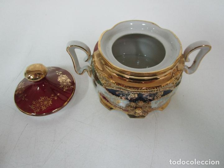 Antigüedades: Bonito Juego de Café o Te - Porcelana Limoges, Francia - 12 Tazas - Fino Dorado - Foto 48 - 183287371