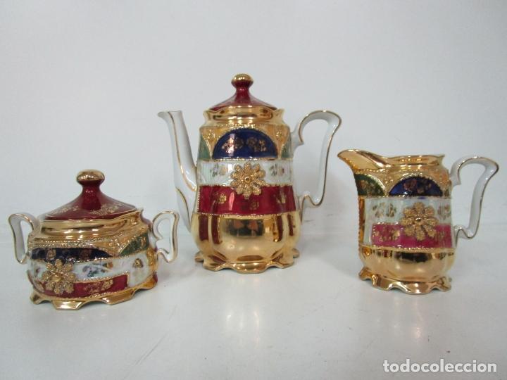 Antigüedades: Bonito Juego de Café o Te - Porcelana Limoges, Francia - 12 Tazas - Fino Dorado - Foto 52 - 183287371