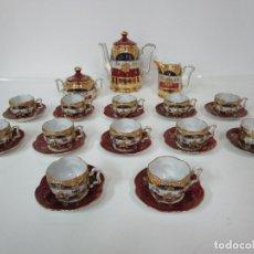 Antigüedades: BONITO JUEGO DE CAFÉ O TE - PORCELANA LIMOGES, FRANCIA - 12 TAZAS - FINO DORADO. Lote 183287371