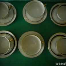 Antigüedades: TAZAS C.P. LIMOGES ANTIGUAS A COLORES SELLO ORO. Lote 183292312