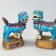 Antigüedades: ANTIGUO PAREJA PERRO-DRAGON FOO MARCADO XVIII CHINO CHINA. Lote 183297587