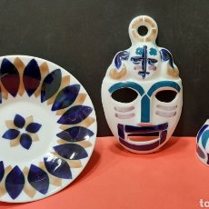Antigüedades: SARGADELOS, PLATO, MASCARA Y BÚCARO.. Lote 183298868