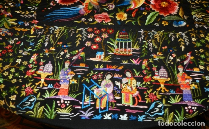 Antigüedades: EXCEPCIONAL MANTON DE MANILA, FILIPINAS, BORDADO A MANO CON FLORES Y PAJAROS, MUY GRANDE, MIDE 155 - Foto 11 - 183304046