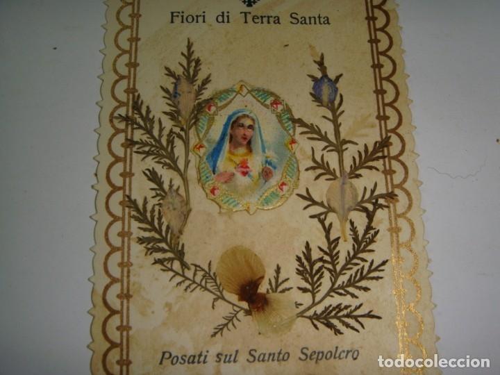 Antigüedades: Estampa Reliquia. Con flores de Tierra Santa. - Foto 2 - 183318742
