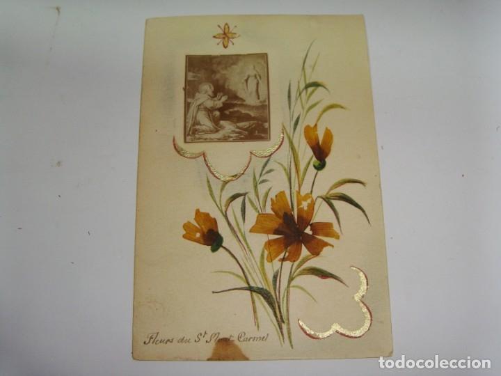 Antigüedades: Estampa Reliquia. Con flores de Mont Carmel. - Foto 2 - 183320631