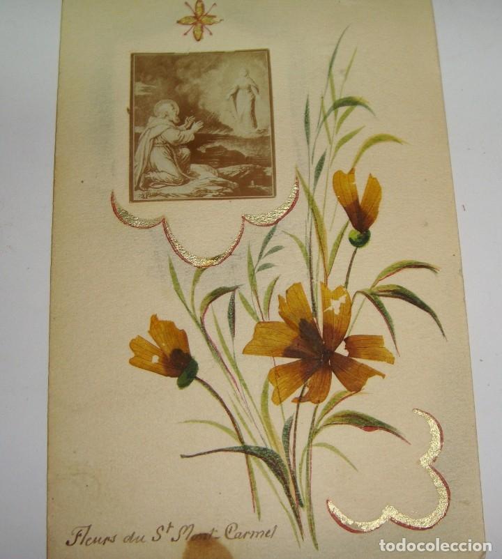 Antigüedades: Estampa Reliquia. Con flores de Mont Carmel. - Foto 3 - 183320631