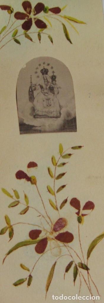 Antigüedades: Estampa Reliquia. Con flores de Mont Carmel. - Foto 2 - 183320965