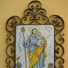 Antigüedades: SAN JOSÉ. CERAMICA MANISES VALENCIA. ARTESANÍA SERRA. PINTADO A MANO Y FORJA. Lote 183330607