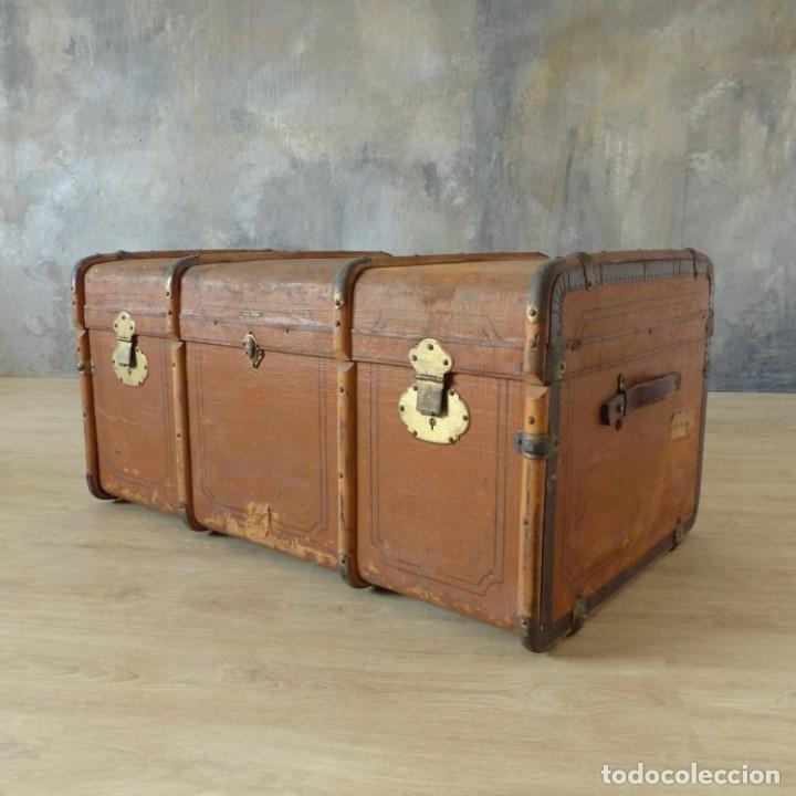 Antigüedades: Antiguo baúl de viaje. Karlsruhe Alemania 1920 - 1930 - Foto 2 - 183338526