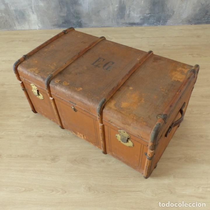 Antigüedades: Antiguo baúl de viaje. Karlsruhe Alemania 1920 - 1930 - Foto 3 - 183338526