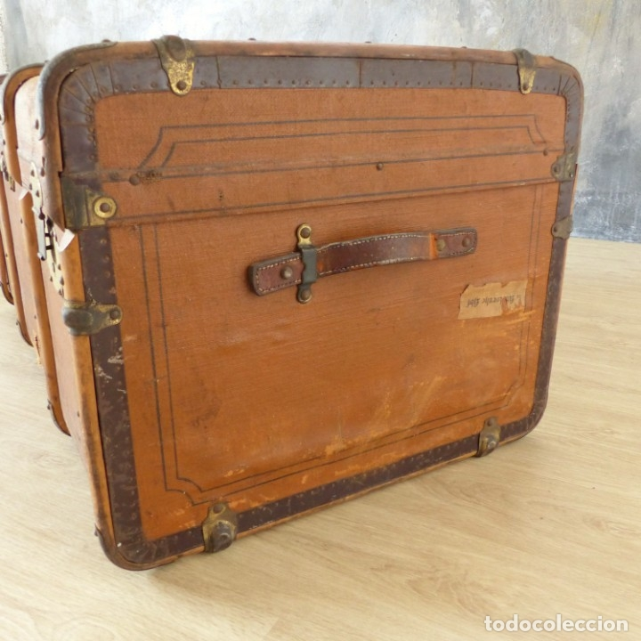 Antigüedades: Antiguo baúl de viaje. Karlsruhe Alemania 1920 - 1930 - Foto 4 - 183338526