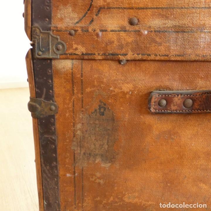 Antigüedades: Antiguo baúl de viaje. Karlsruhe Alemania 1920 - 1930 - Foto 7 - 183338526