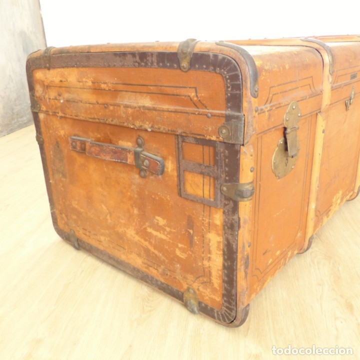 Antigüedades: Antiguo baúl de viaje. Karlsruhe Alemania 1920 - 1930 - Foto 8 - 183338526