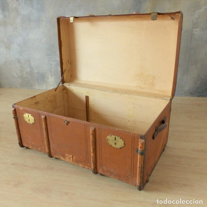 Antigüedades: Antiguo baúl de viaje. Karlsruhe Alemania 1920 - 1930 - Foto 9 - 183338526