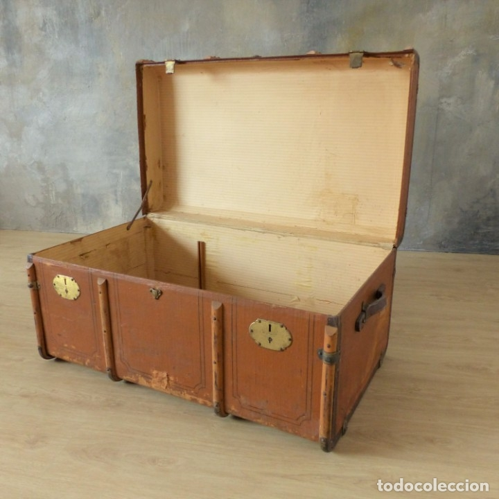 Antigüedades: Antiguo baúl de viaje. Karlsruhe Alemania 1920 - 1930 - Foto 10 - 183338526