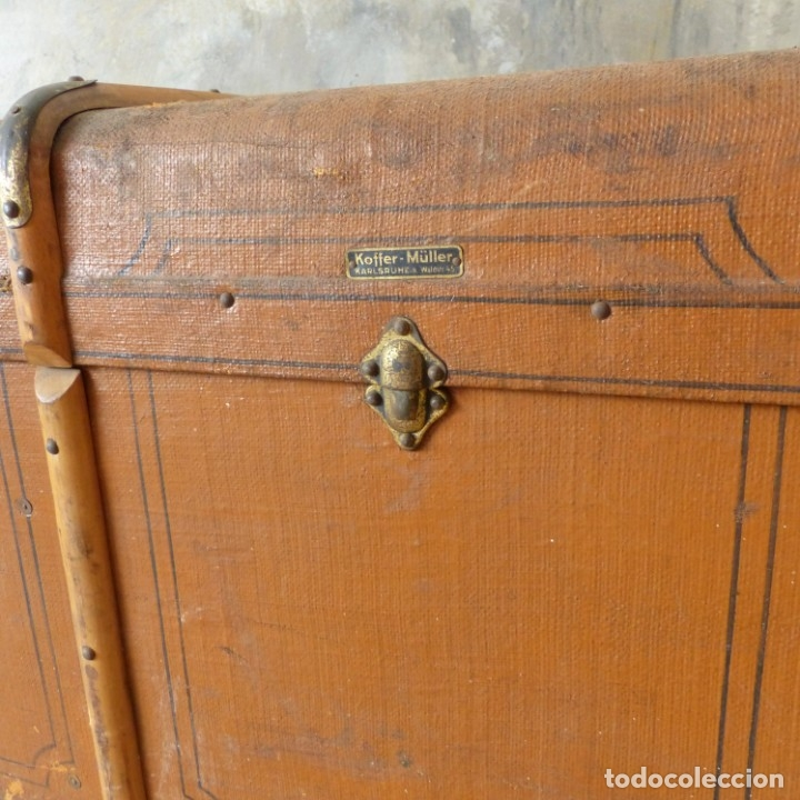 Antigüedades: Antiguo baúl de viaje. Karlsruhe Alemania 1920 - 1930 - Foto 14 - 183338526