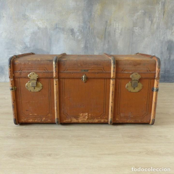 Antigüedades: Antiguo baúl de viaje. Karlsruhe Alemania 1920 - 1930 - Foto 17 - 183338526
