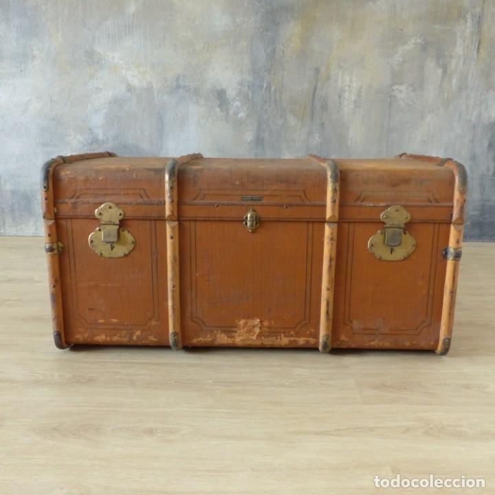Antigüedades: Antiguo baúl de viaje. Karlsruhe Alemania 1920 - 1930 - Foto 18 - 183338526
