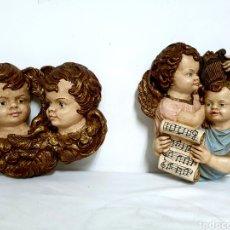 Antigüedades: QUERUBINES DE MADERA. Lote 183340642