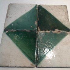 Antigüedades: ANTIGUOS AZULEJOS, RAJOLAS CERAMICA CATALANA SIGLO XVIII. Lote 183366527