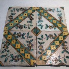 Antigüedades: ANTIGUOS AZULEJOS, RAJOLAS CERAMICA CATALANA SIGLO XVIII. Lote 183366633