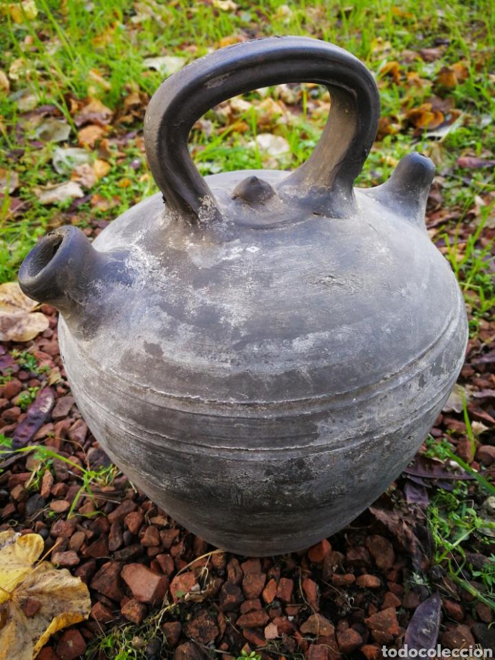 ANTIGUO BOTIJO CÀNTIR VERDÚ (RAMON RABINAT)- CERÁMICA NEGRA CATALANA, 23CM. (Antigüedades - Porcelanas y Cerámicas - Catalana)