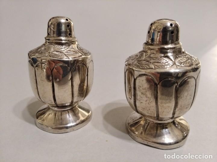 Antigüedades: Pareja de saleros en plata sterling. Estilo Art Decó - Foto 2 - 183386135