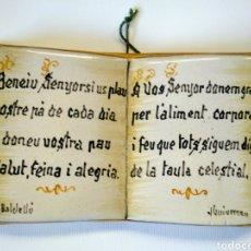 Antigüedades: CERÁMICA GUIVERNAU. DECORACIÓN RELIGIOSA CON TEXTO EN CATALÀ.. Lote 183398162