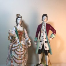 Antigüedades: 2 FIGURAS PORCELANA- ESPAÑA- ÁLVAREZ- HOMBRE Y MUJER- 34 CM. Lote 183401105