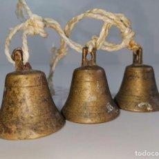 Antigüedades: ANTIGUOS CENCERROS, CAMPANAS DE BRONCE. 5 CM. . Lote 183407890