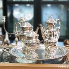 Antigüedades: SERVICIO DE TE Y CAFE EN PLATA LEY MARCADO CON CONTRASTE. Lote 183411198