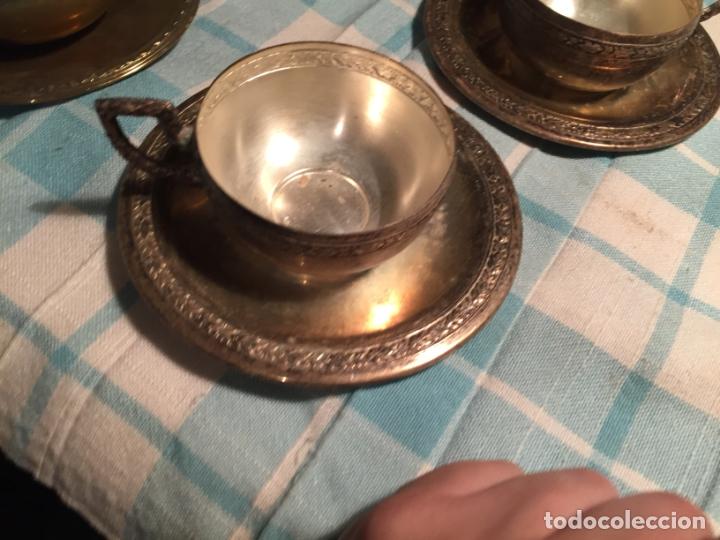 Antigüedades: Antiguas 5 taza / tazas de metal bañado en plata repujado con platos a juego años 40-50 - Foto 27 - 183438365