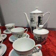 Antigüedades: JUEGO CAFÉ PONTESA CHINAMODA ESP. PARA NESCAFÉ COMPLETO: 5 TAZAS PLATOS CAFETERA AZUCARERO LECHERA. Lote 183452275