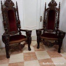 Antigüedades: EXCEPCIONAL PAREJA DE SILLONES TRONO EN MADERA DE NOGAL. Lote 183458087