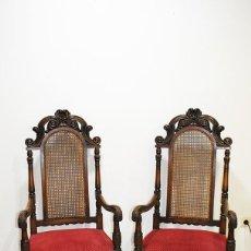 Antigüedades: PAREJA DE SILLONES ANTIGUOS MADERA DE NOGAL TALLADA Y REJILLA. Lote 183458633