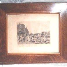 Antigüedades: MARCO NOGAL DOBLE FILETE DE BOJ, ÉPOCA ISABELINA, INCLUYO GRABADO, MED. 56 X 47 CM. Lote 183459403